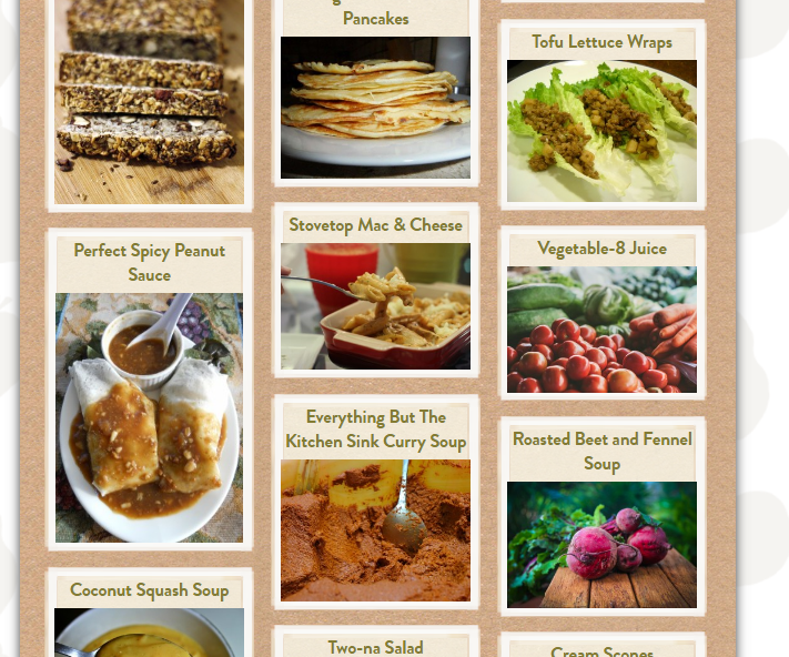 Masonry grid for recipe cards. This page also features isotope filtering of recipes by category.